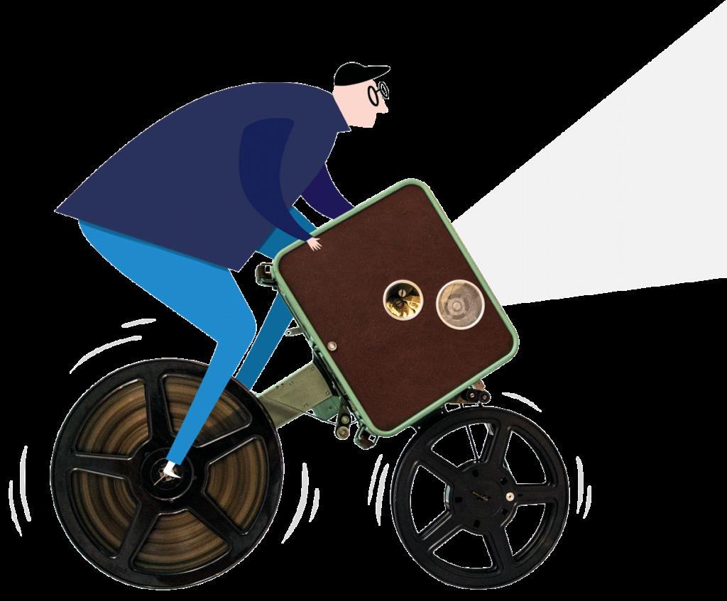 Veranstaltungen im Filmlandsachsen | Ein Männchen mit Brille und Cappy fährt auf einem Fahrrad. Er hat einen Projektorkoffer unter den Arm geklemmt aus dem ein Projektionsstrahl kommz.